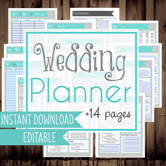 Get your wedding organized with this printable wedding planner! Complete with checklists and pages to organize everything from the wedding party to gifts, wedding planning time management, and more!  This planner comes with 14 pages total to help you get organized & will be available to download instantly, right here on Etsy. The blanks & boxes are editable/fillable so you can type into the planner on your computer before printing, or use it just as a digital planner! OR, print your planner…