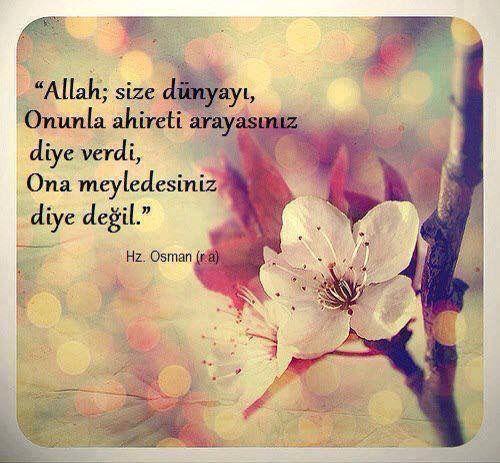 Allah; size dünyayı onunla ahireti arayasınız diye verdi ona metledesiniz diye değil. Hz. Osman (ra)