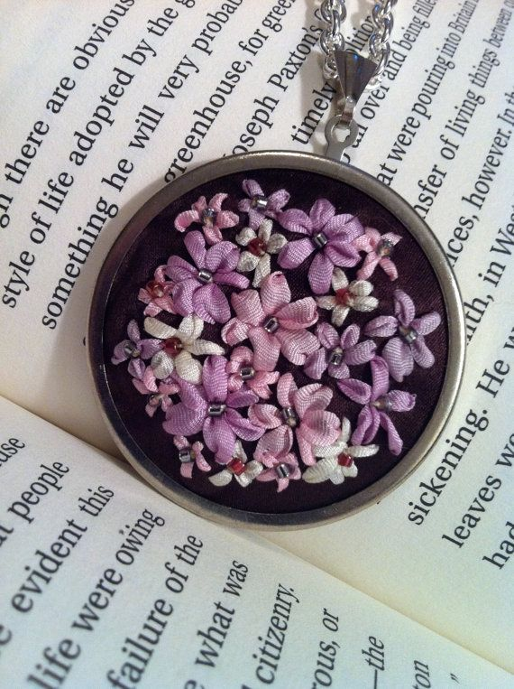 Pink and Lavender Flower Pendant, Silk Ribbon Embroidery by BeanTown Embroidery