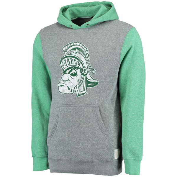 Michigan State Spartans Original Retro Brand Vintage Color Block Tri-Blend Pullover Fleece Hoodie - Gray/Green - $59.99