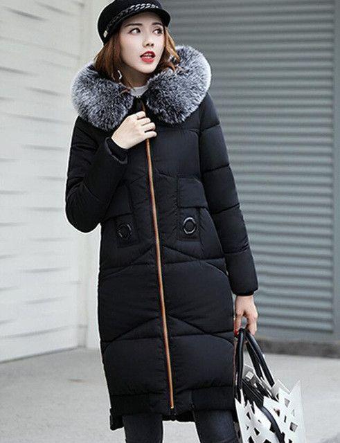 Fashion large fur collar coat women parka long 2017 winter coat women wadded jacket thick warm ladies coats black