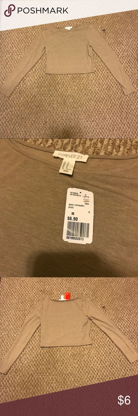 Forever 21 Beige Crop Top Brand New Forever 21 Crop Top!   Bought and never wore! Selling same price I bought it at, because with posh fees I wouldn't make any of my money I paid for this back. Forever 21 Tops Crop Tops