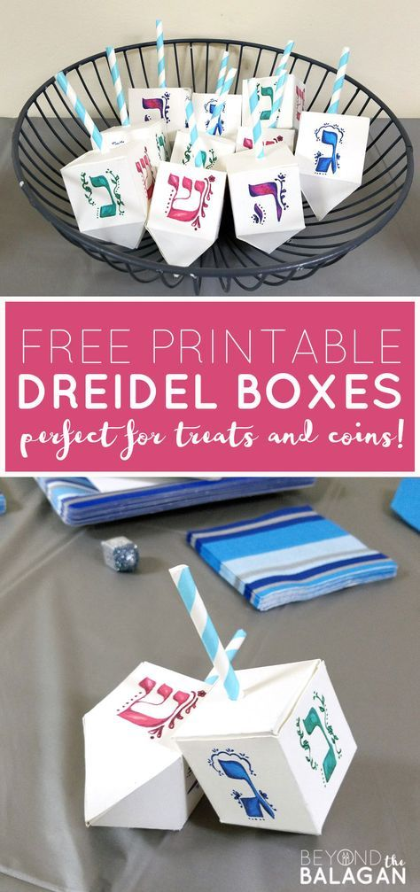 These free printable dreidel boxes are perfect for the Jewish holiday of Hanukka. These free printable dreidel boxes are perfect for the Jewish holiday of Hanukkah or Chanukah as it Jewish Hanukkah, Feliz Hanukkah, Hanukkah Crafts, Jewish Crafts, Hanukkah Food, Hanukkah Decorations, Christmas Hanukkah, Happy Hanukkah, Holiday Crafts