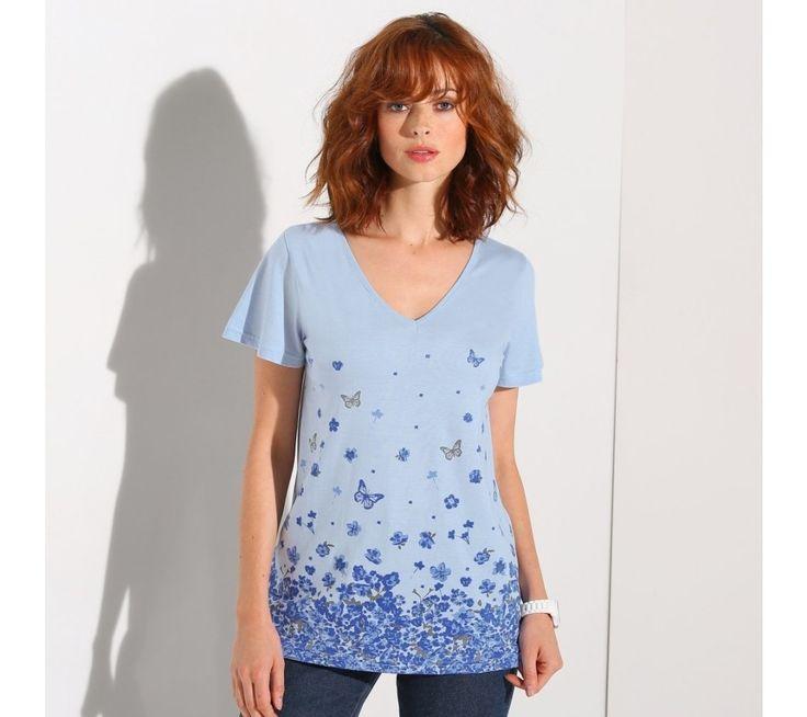Tričko s výstřihem do V, s potiskem | blancheporte.cz #blancheporte #blancheporteCZ #blancheporte_cz #tshirt