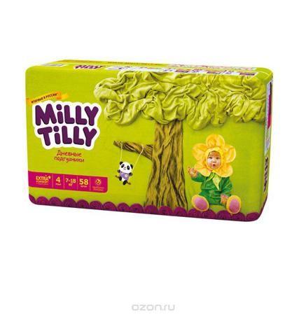 """Milly Tilly Подгузники дневные """"Maxi"""", 7-18 кг, 58 шт  — 1097р.  Нежный материал дневного подгузника """"Milly Tilly"""" в виде сот прилегает к коже и дарит малышу невероятный комфорт. Данная структура верхнего слоя в виде сот позволяет свободно циркулировать воздуху внутри подгузника. Эластичные поясочки надежно фиксируют его, при этом не стесняют движений малыша. Нежные оборочки сделаны из трех мягких резиночек, которые не натирают ножки. Застежки """"Magic Fix"""" - настолько крепкие, что их можно…"""
