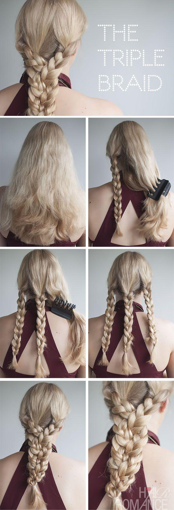 Hair Romance - triple braid tutorial