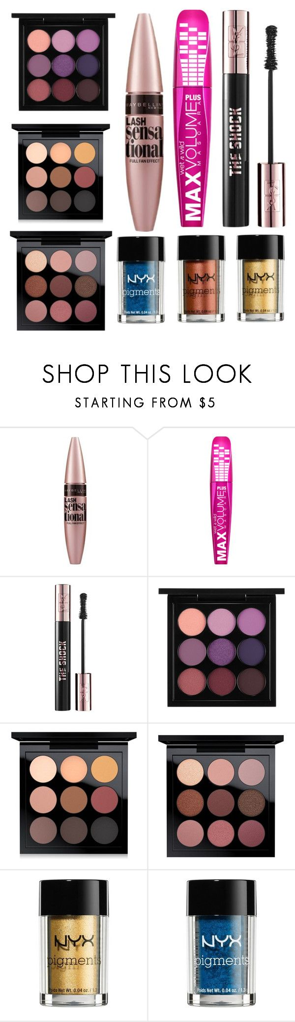 """""""What's in my makeup bag: eyeshadows and mascara"""" by polyvorebyv on Polyvore featuring beauty, Maybelline, Yves Saint Laurent, MAC Cosmetics and NYX"""