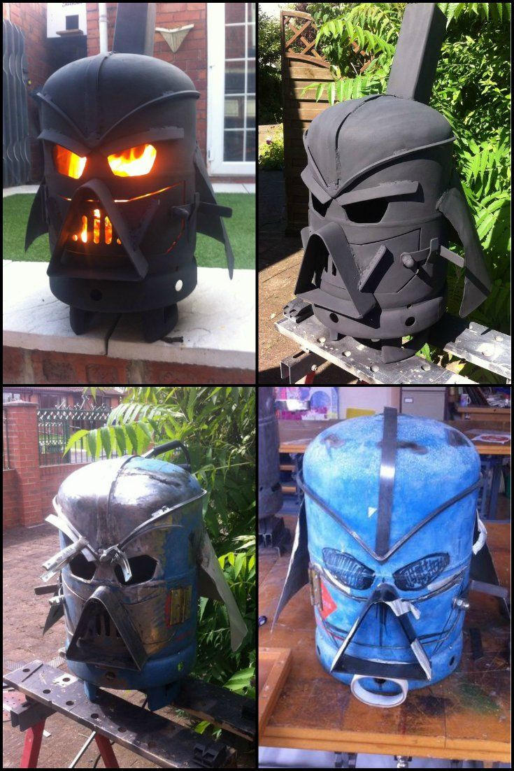 How To Build A Darth Vader Log Burner From Gas A Bottle  http://diyprojects.ideas2live4.com/2015/05/09/how-to-build-a-darth-vader-log-burner-from-gas-bottle/  Star Wars fan or not, we believe this is one of the most impressive DIY log burners out there.  Agree?