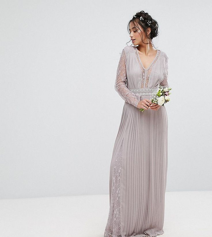 TFNC Petite Wedding Pleated Maxi Dress With Long Sleeves And Lace Inse