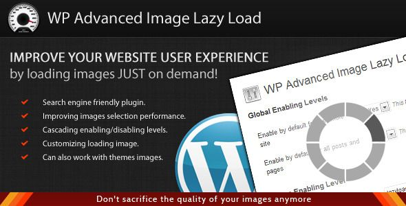WordPress Advanced Image Lazy Load . Your website has a lot of image intensive content and take up a lot of resources when loading up? Your boss and your clients consider the pages fluidity a serous