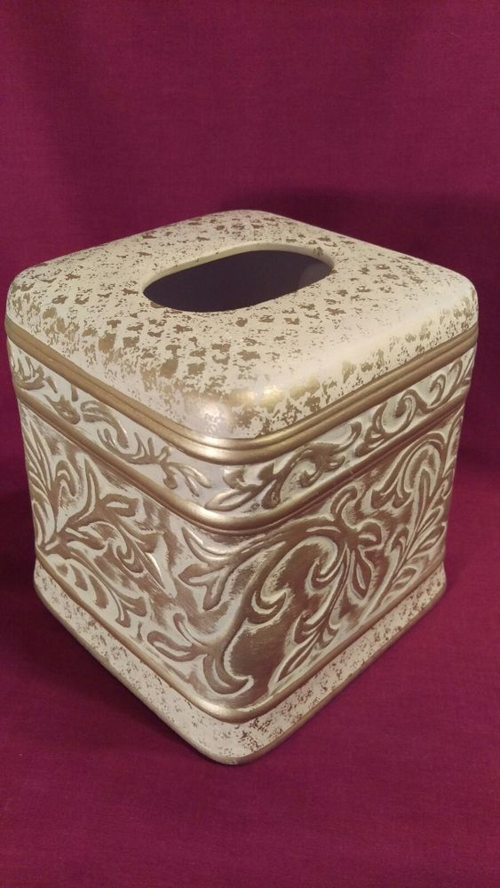 NORMANDY Ceramic Tissue Box Holder Antique Gold Decor Bath Linens Things NWT $40 #LinensThings
