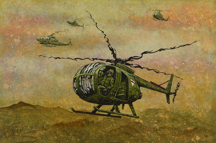 The Vietnam-era pilots fly their helicopters in tornado formation on a scout mission in enemy territory. Painting Process The 24 x 36 aquaboard was painted with acrylics, gouache, and enamel and then