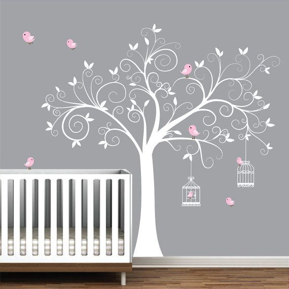 Baby Wall Designs a modern nursery that makes great use of wall art and simple colours to transform the Wall Decal Tree With Bird Cages Children Nursery Wall Decals Stickers Vinyl