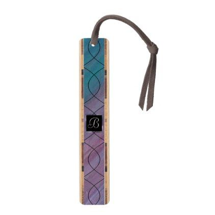 #Visionary Office | Monogram Pink Purple Teal | Bookmark - #trendy #gifts #template