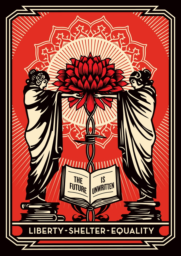 "Shepard Fairey's ""The Future is Unwritten"" available on Artspace benefiting the Coalition for the Homeless."