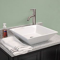 Fontaine Shallow Square Porcelain Bathroom Vessel Sink White