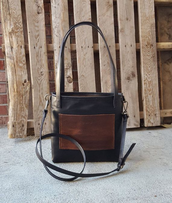 Black Leather Tote  Crossbody Bag  Handmade  Women's