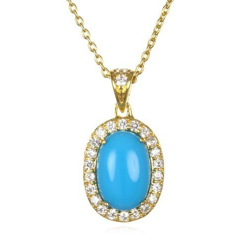 """Turquoise Oval Bubble Pendant in GP-18"""" CHELINE. $49.00"""