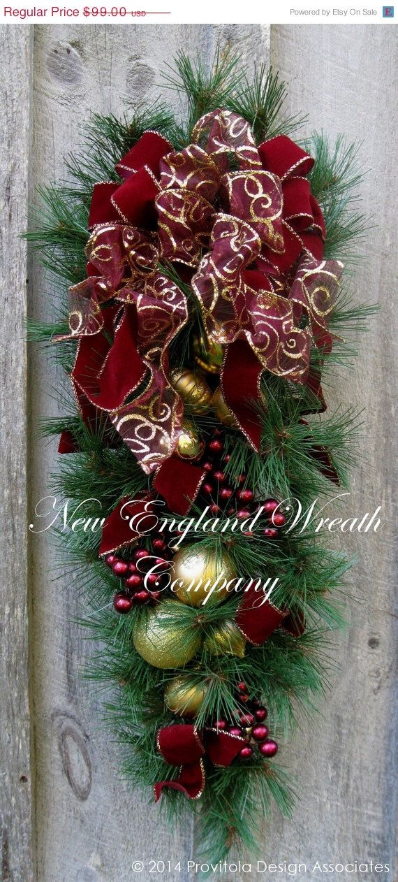 ON SALE Christmas Wreath, Holiday Wreath, Christmas Swag, Victorian Christmas, Teardrop, Burgundy, Elegant Holiday Swag by NewEnglandWreath on Etsy https://www.etsy.com/listing/205052860/on-sale-christmas-wreath-holiday-wreath