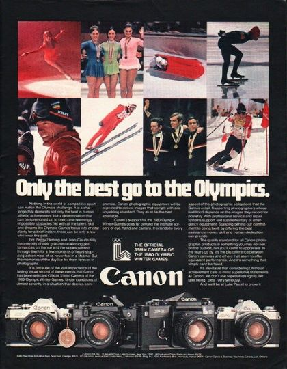 """1980 CANON CAMERA vintage magazine advertisement """"Only the best"""" ~ Only the best go to the Olympics. - Nothing in the world of competitive sport can match the Olympic challenge. Canon - The Official 35mm Camera of the 1980 Olympic Winter Games - ..."""