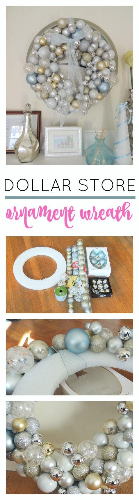 This ornament wreath is easy and cheap to make using supplies from the dollar…