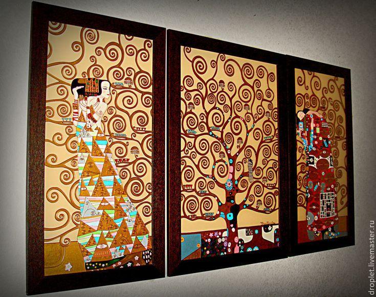"""Купить Картина по мотивам Г.Климта """"Древо жизни"""" 3 части. - Густав Климт, Климт"""