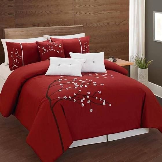 Lauren Taylor Rosso 6 Piece Comforter Set, Red - Full (Cotton, Embroidered)