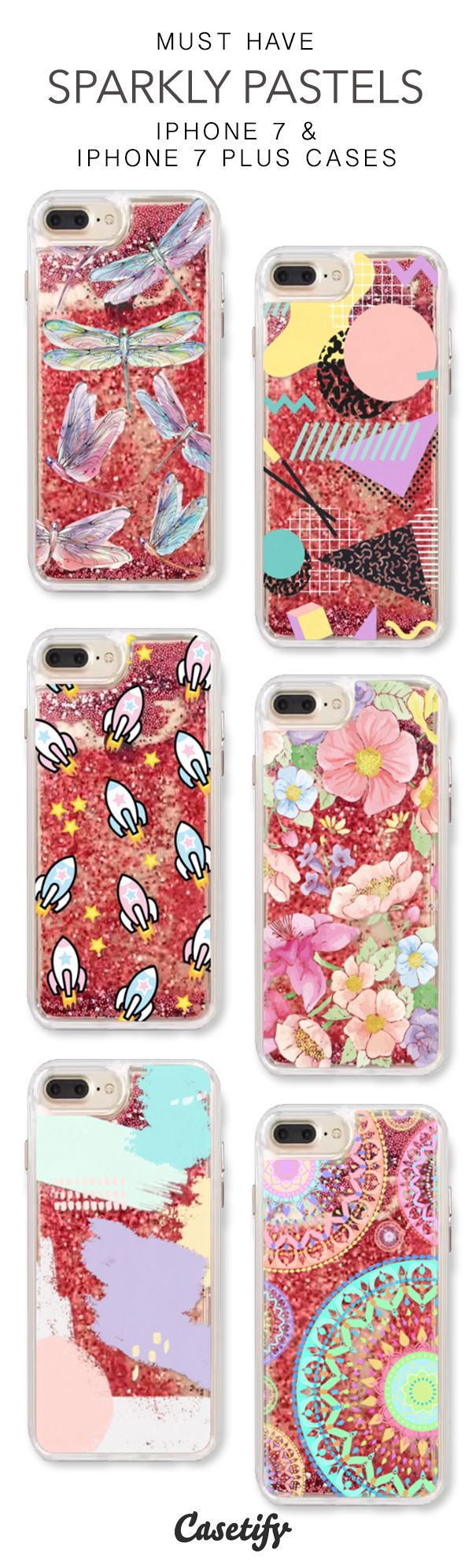 Must Have Sparkly Pastels iPhone 7 Cases & iPhone 7 Plus Cases. More protective liquid glitter colorful iPhone case here > https://www.casetify.com/en_US/collections/iphone-7-glitter-cases#/?vc=F7VltLWqrv