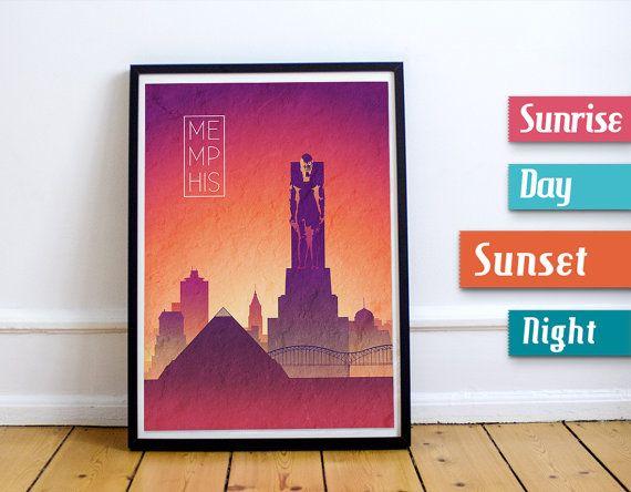 MEMPHIS Sunset Skyline Art Memphis City Art by JackTravelMap