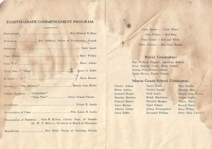 Maroa, Illinois  Township Commencement Exercises  Grade School Auditorium Wednesday Evening, May 29, 1935 8 O'clock