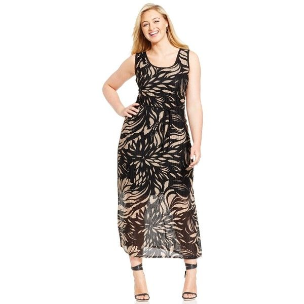 Connected Plus Size Floral-Print Sleeveless Maxi Dress ($62) ❤ liked on Polyvore featuring plus size fashion, plus size clothing, plus size dresses, camel, plus size day dresses, print dress, plus size floral dresses and womens plus dresses