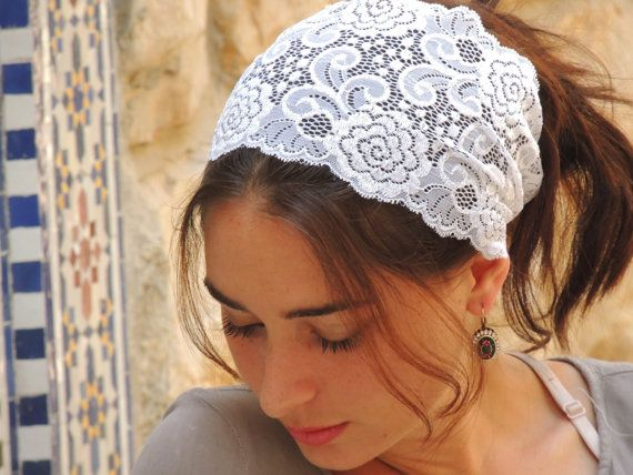 Stunning White Stretchy Lace Headband,Bandana, Tichel, Vintage Headband, Hippie headband , Pre-tied,