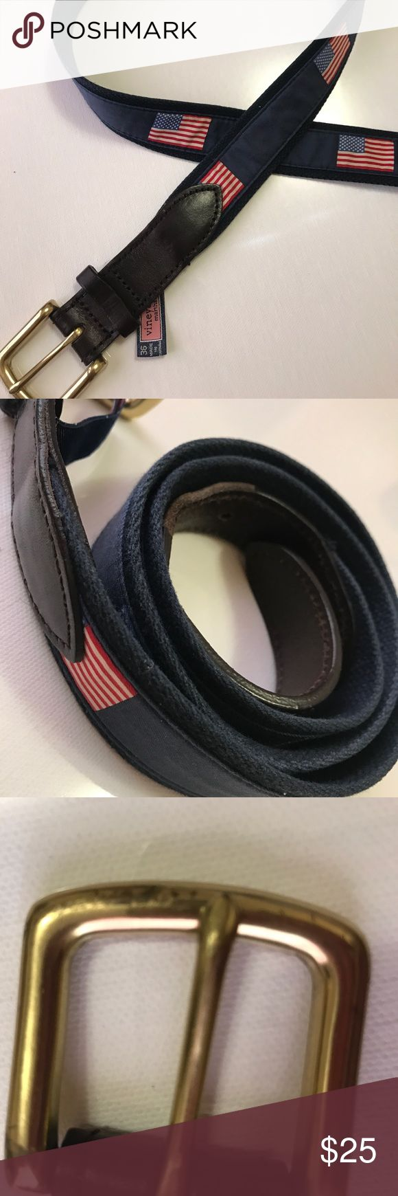 Vineyard Vines Canvas Club American Flag Belt sz36 Size 36! Has been well loved! All wear is pictured but I will mention here that a little bit of the leather strip is missing on the top of the leather belt holes. Make me an offer on what you think is fair :) Vineyard Vines Accessories Belts