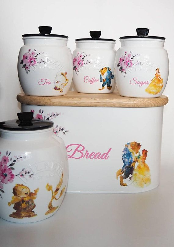 Beauty And The Beast Watercolour Kilner Tea Canister Set Handmade