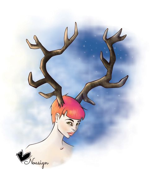 Stelle - donna cervo - illustrazione su carta e colorazione digitale - star- deer woman - sketch on paper and digital coloring