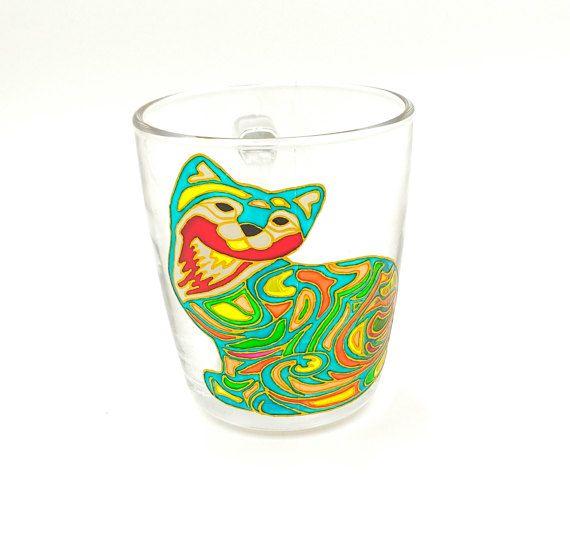 Cat Mug Hand Painted Gift Coffee Tea Handmade Stained