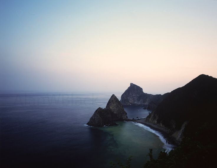 Japanese coastline, free US shipping, japan, asian landscape, rugged coastline, calm sea, dusk, waves crashing, izu, fine art print, peace by AlanWBlack on Etsy