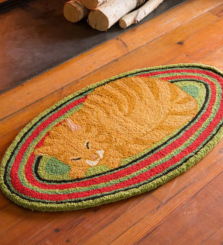 hookedwool marmalade cat oval rug needs more contrast in colors