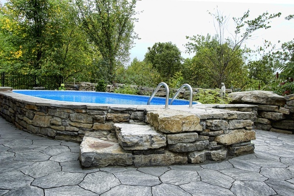 above ground poolAbove The Ground Pools, Above Ground Pools Yards, Pools Decks, Above Ground Pools With Rocks, Backyards Retreat, Dreams House, Gardens, Above Ground Pools Ideas, Tomorrow Adventure