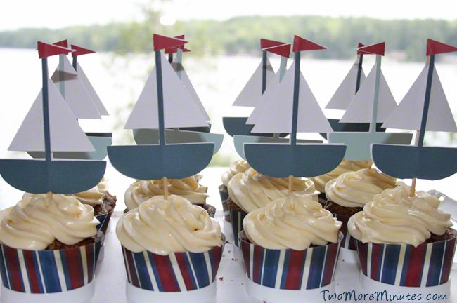 Sailboat Cupcakes - Free Printable | Two More Minutes