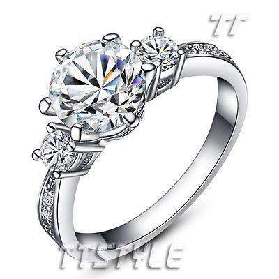T&T 18K White Gold GP Engagement Wedding Ring Size 6 (RF43)