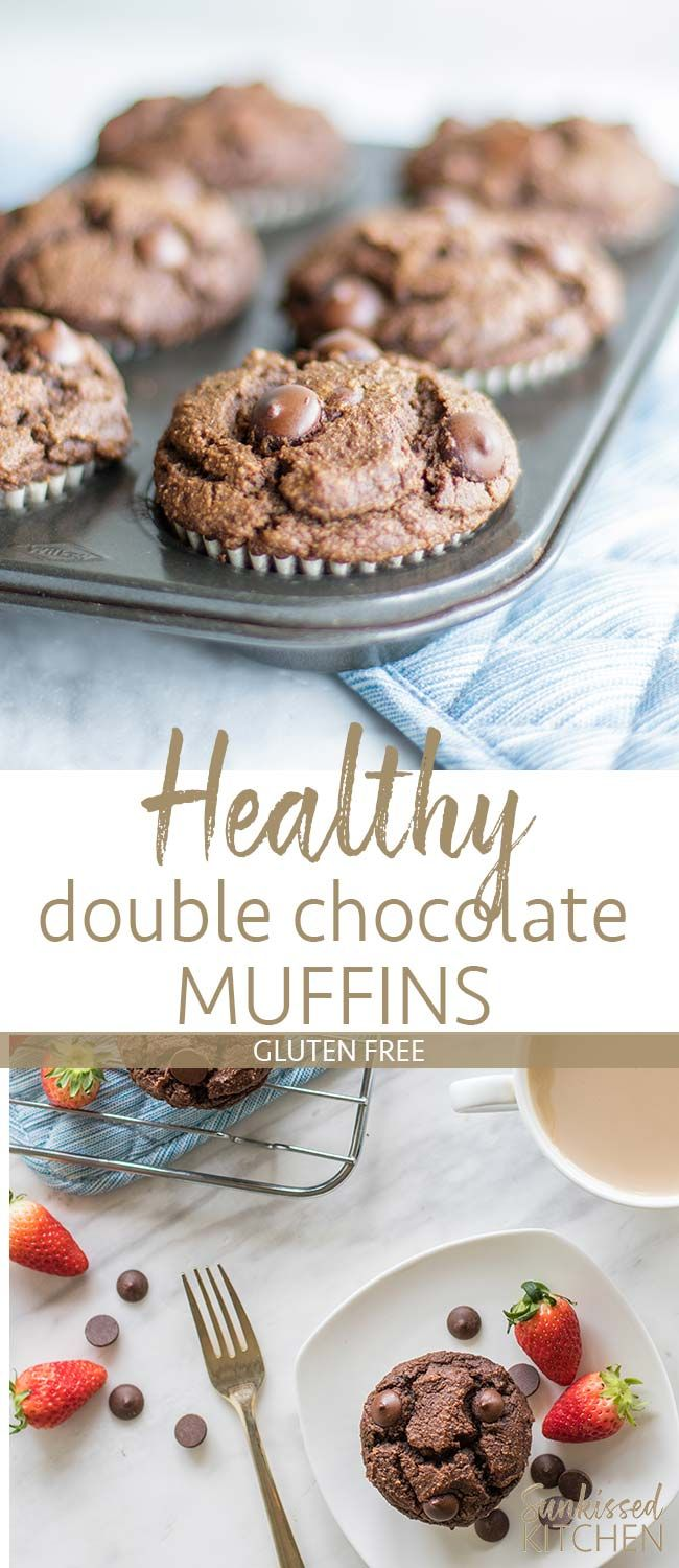 Gluten Free Double Chocolate Chip Muffins / These healthy chocolate muffins are entirely fruit sweetened, meaning they are an ideal breakfast treat! | SUNKISSEDKITCHEN.COM | #glutenfree #muffins #chocolate #chocolatechip #healthy #breakfast #doublechocolate