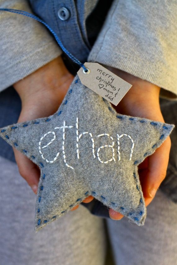 Personalized Ornament - Wool Felt Star with Hand Embroidered name Could make them for my tree with all my nieces and nephews names on them with their birthdays ....