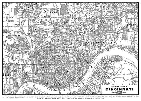 Cincinnati Map Street Map Vintage Print Poster Black