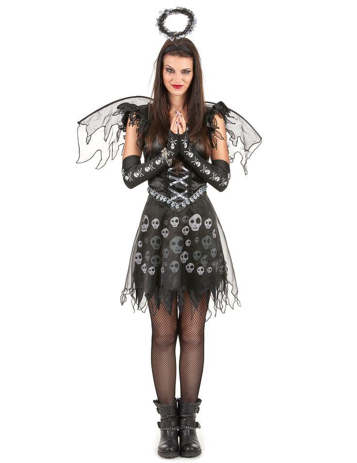Costume angelo gotico donna: Questo costume da angelo gotico da donna è composto da un vestito, un paio di ali e una fascia (scarpe, maniche e calze non incluse) Il vestito nero è corto. Ha dei veli di tulle e dei...