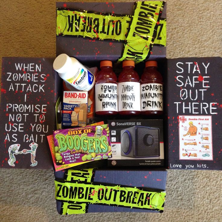 Zombie. Care Package. Military care package. October care package. Halloween. Walking dead. Boogers. Zombie immunity drink. Band aids. I promise I won't use you as zombie bait. Stay safe out there. Zombie outbreak. Zombie first aid