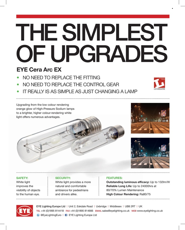 """Copy of a magazine advertisement for """"Cera Arc EX"""" - our range of direct retrofit CMH (ceramic metal halide) lamps to replace HPS (high pressure sodium) lamps on their existing control gear. You may have spotted this advertisement in copies of """"A1 Lighting"""" (www.a1lightingmagazine.com) and """"LUX Magazine"""" (www.luxmagazine.co.uk) in 2012. #advertising #lighting #retrofit"""