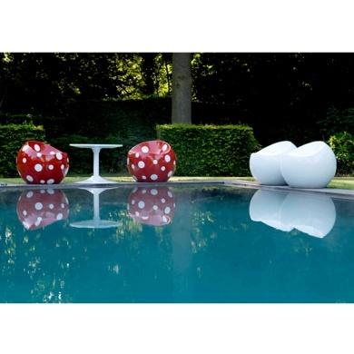 Fauteuil deco - Ball Chair Coccinelle, pouf boule rouge pois blancs : achat en ligne sur Cerise sur la Déco