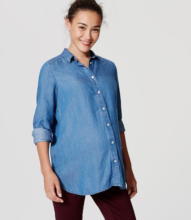 LOFT Petite Maternity Shirred Chambray Softened Shirt