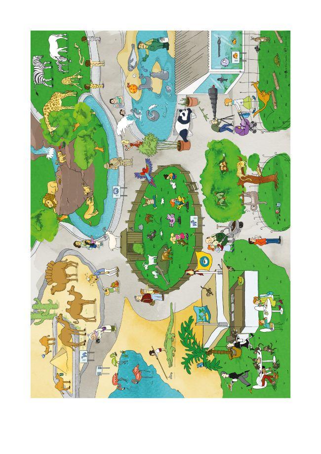 Kindergarten KiGaPortal Wimmelbild Sommer Zoo Tiere Tiergarten